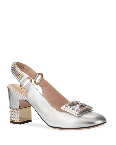 Leather Mid-Heel Slingback Pump With Crystal G in Silver