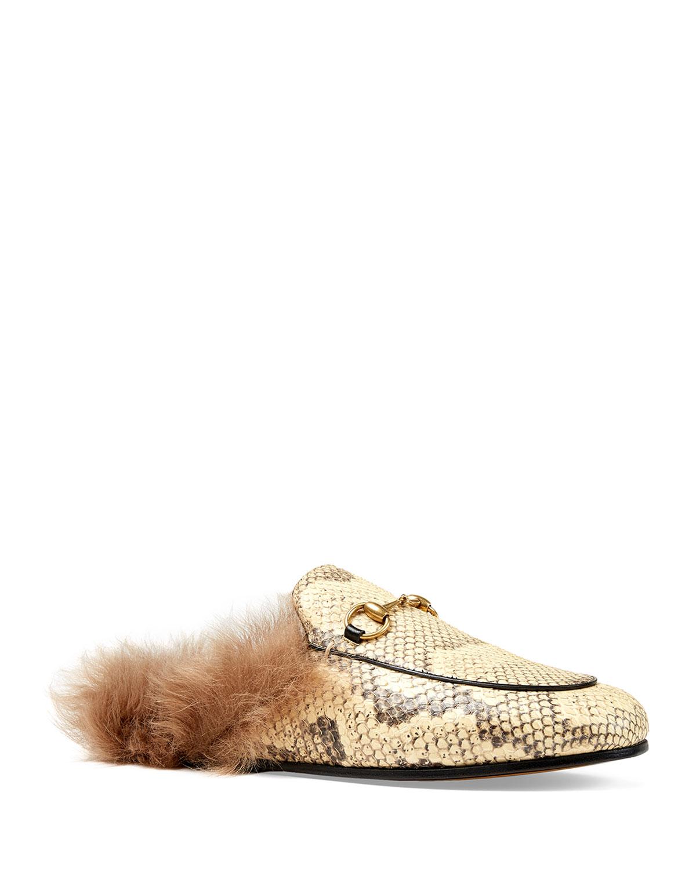 4cda0f20825 Gucci Princetown Python And Fur Mule