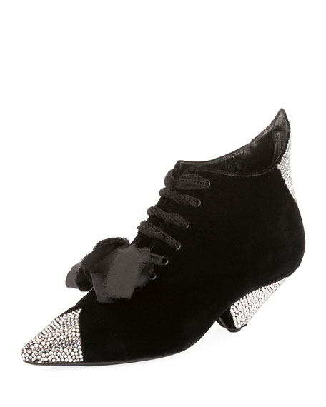 Saint Laurent Blaze Crystal-Embellished Lace-Up Booties