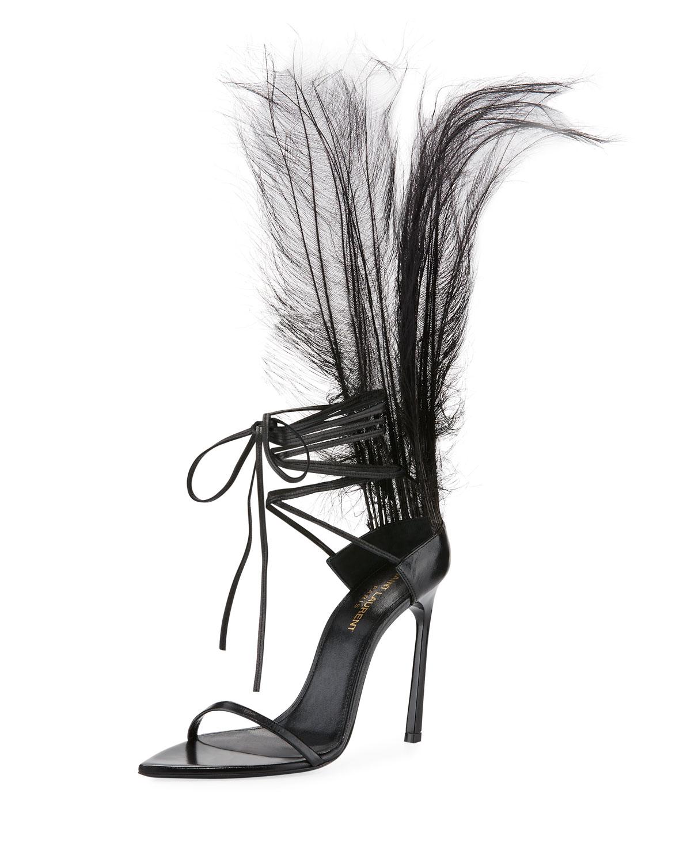 Saint Iris Laurent Iris Saint Patent Sandal with Feathers 195f74