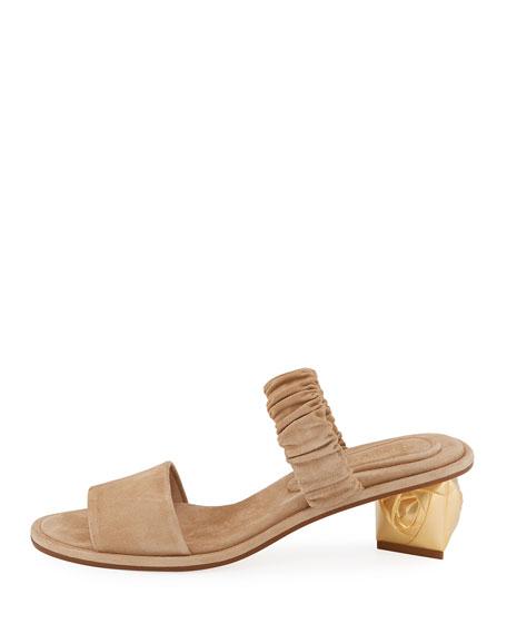 Dana Suede Ornate-Heel Mule Sandal