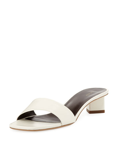 Chocolate Capretto Leather Slide Sandals