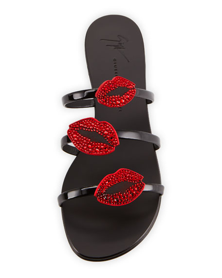 Lips Three-Band Flat Slide Sandals
