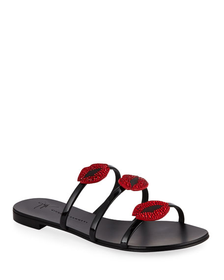 Giuseppe Zanotti Lips Three-Band Flat Slide Sandals