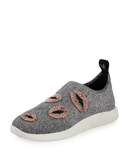 Giuseppe Zanotti Glitter Stretch Trainer Sneakers with Lips