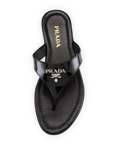 Patent Logo Thong Sandal