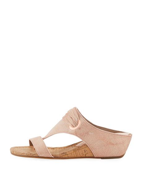 Dionne Demi-Wedge Metallic Leather Slide Sandal