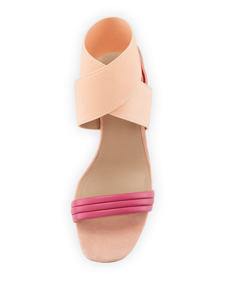 Hira Colorblock Suede & Leather Low-Heel Sandal