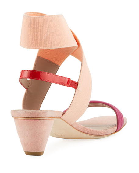 Hira Colorblock Suede & Leather Low-Heel Sandal