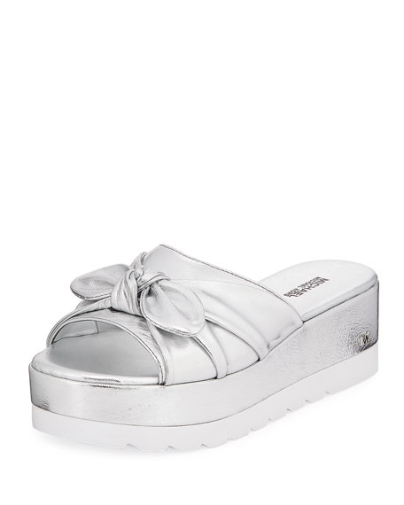 MICHAEL Michael Kors Pippa Metallic Leather Platform Slide