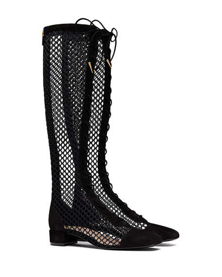 Dior Naughtily-D Suede & Mesh Lace-Up Boot