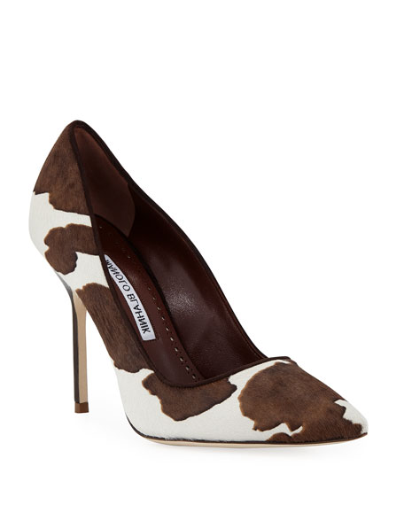 Manolo Blahnik BB Cow-Print Pointed Pumps | Neiman Marcus