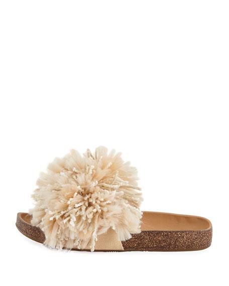 Cindy Fringe Flat Slide Sandal