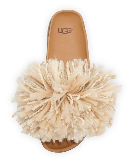 Cindy Fringe Flat Slide Sandals