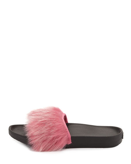 Royale Toscana Fur Pool Slides, Pink
