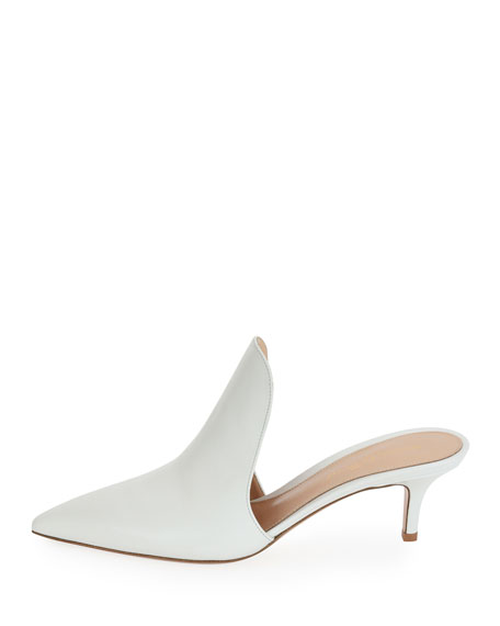 Pointed-Toe Calf Leather High-Vamp Mule