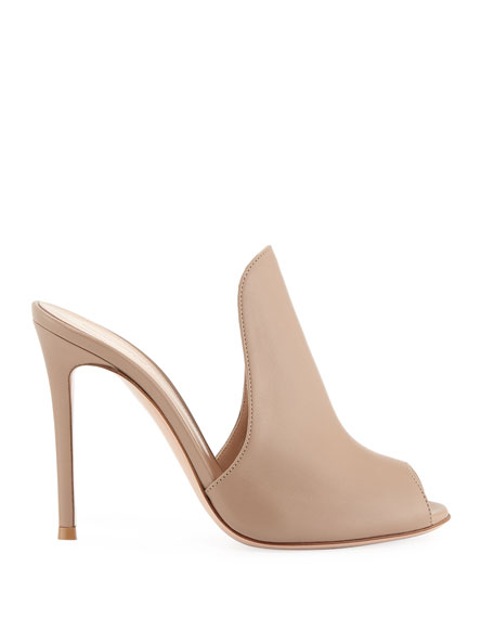 High-Vamp Peep-Toe Mule Sandal