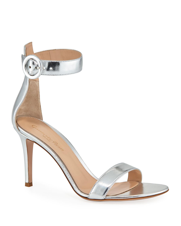 a8d85df1ed9 Gianvito Rossi Portofino Metallic Napa Ankle-Strap 85mm Sandal ...