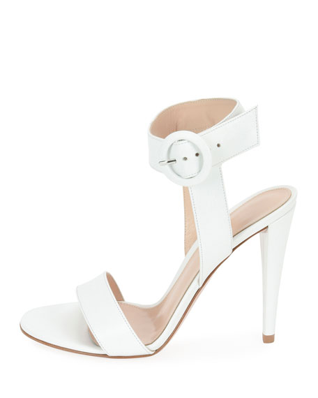 Smooth Leather Ankle-Wrap Sandal