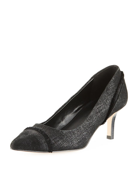 Donald J Pliner Floe Frayed Kitten-Heel Pump, Black