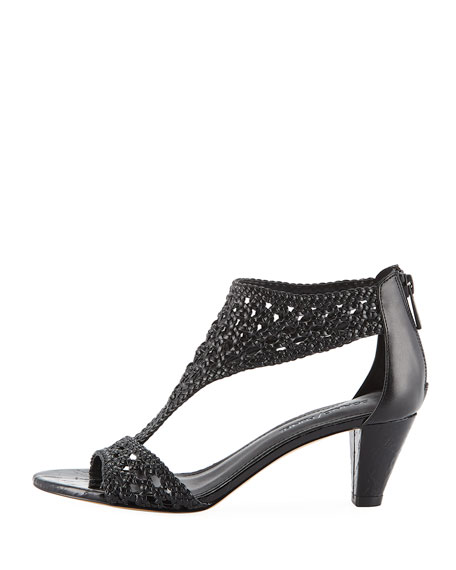 Verna Woven Low Sandals, Black