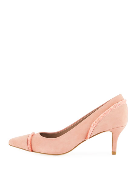 Floe Frayed Kitten-Heel Pumps, Rose