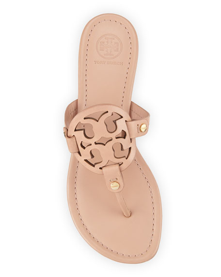 Tory Burch Miller Flat Leather Logo Slide Sandal