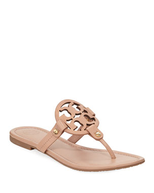 4f517a55fb43 Tory Burch Miller Flat Leather Logo Slide Sandal