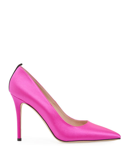 SJP by Sarah Jessica Parker Fawn Satin Pointed-Toe 100mm Pumps