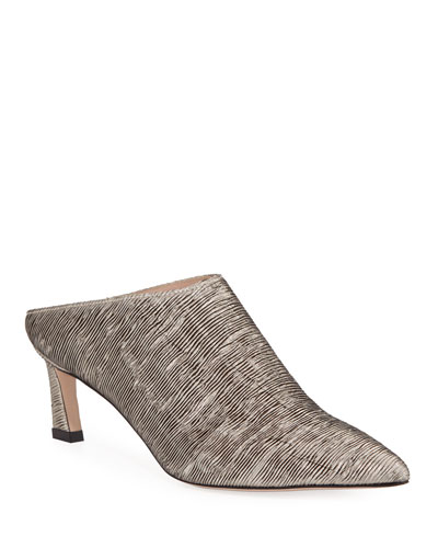 Mira Kitten Pointed Mule, Argento