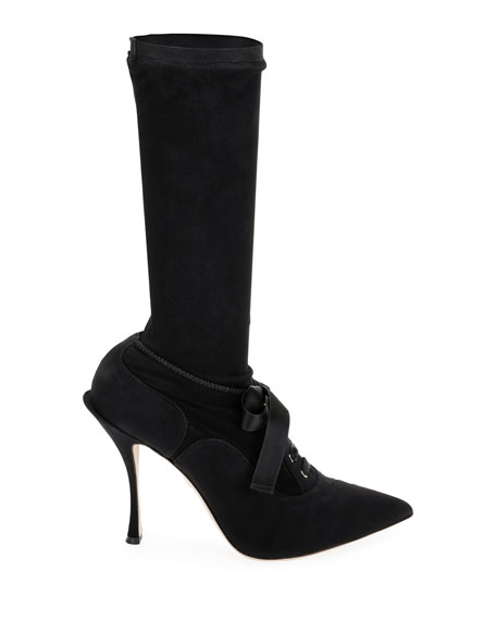 Stretch Lace-Up Mid-Calf Sock Boots