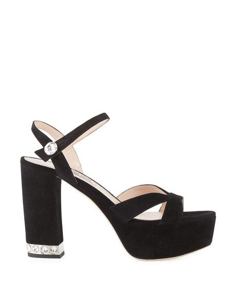 Suede Chunky-Heel Platform Sandal