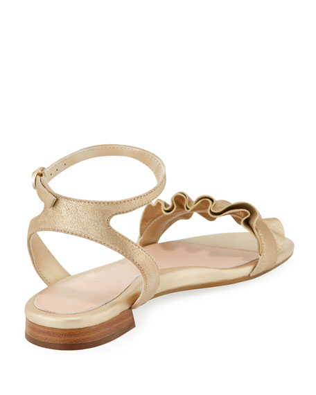 Vesta Ruffle Metallic Leather Flat Sandals