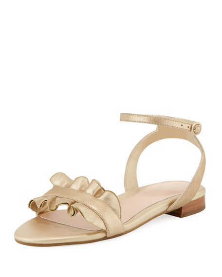 Taryn Rose Vesta Ruffle Metallic Leather Flat Sandal