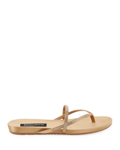 8a93d3faadbc Pedro Garcia Giulia Crystal Strappy Flat Thong Slide Sandal