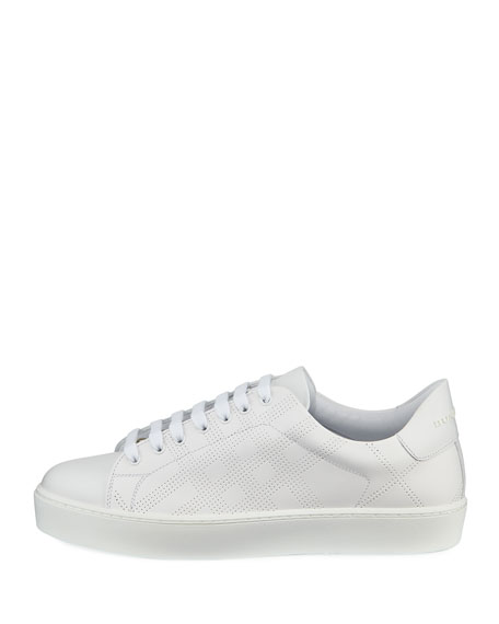 Westford Perforated Leather Low-Top Sneaker, White
