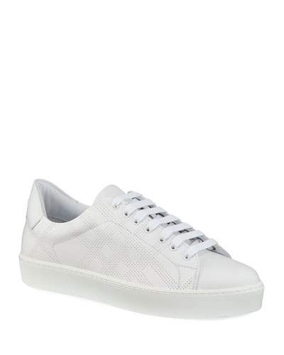 Westford Perforated Leather Low-Top Sneakers, White