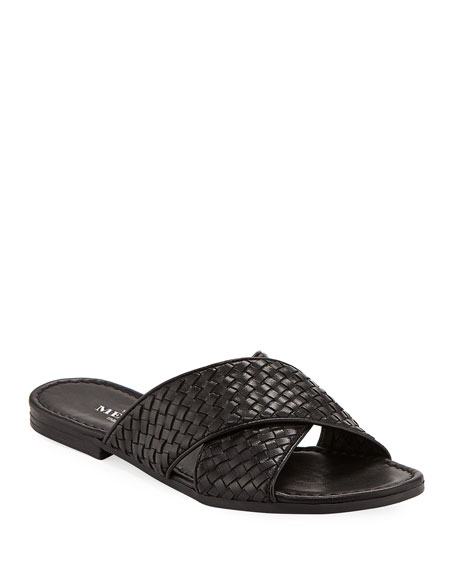 Nera Flat Woven Napa Leather Slide Sandal