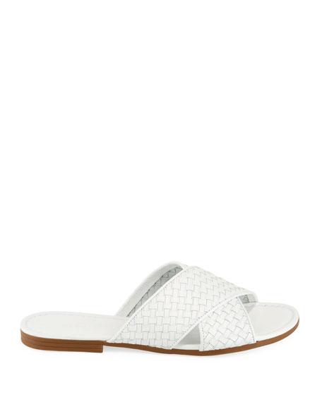 Nera Flat Woven Napa Leather Slide Sandal