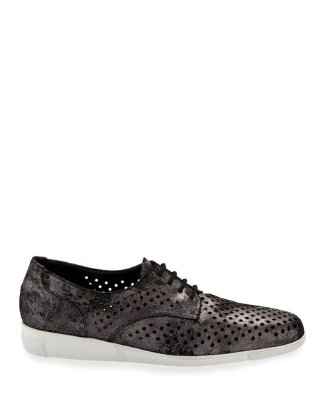 Dira Perforated Lace-Up Sneaker, Black