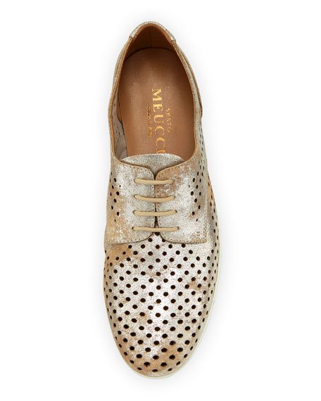Dira Perforated Lace-Up Sneakers, Platino