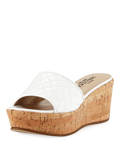 Tarie Quilted Napa Wedge Slide Sandal