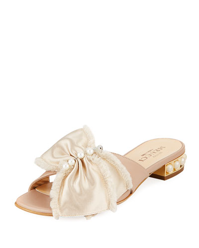Wesi Pearl and Bow Slide Sandals, Beige
