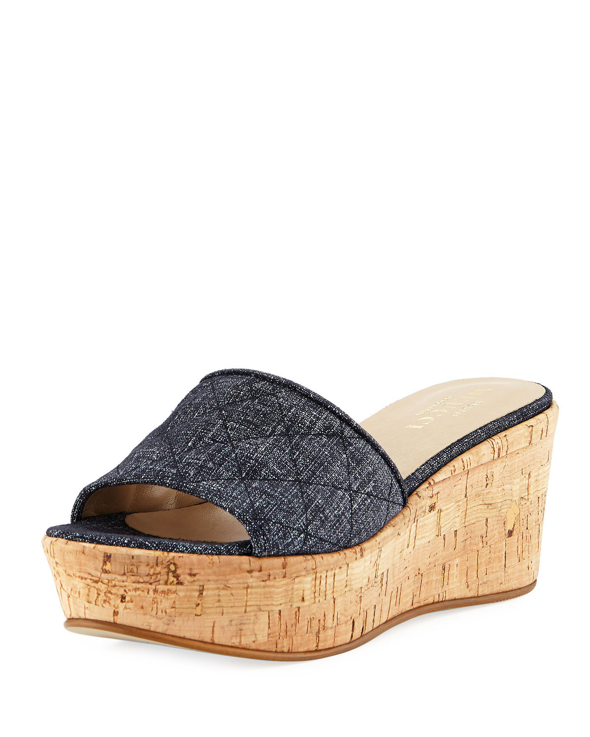 Sesto Meucci Tarie Quilted Denim Wedge Slide Sandal ct0a8z