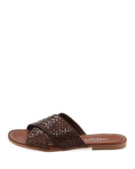 Nera Flat Woven Leather Slide Sandal
