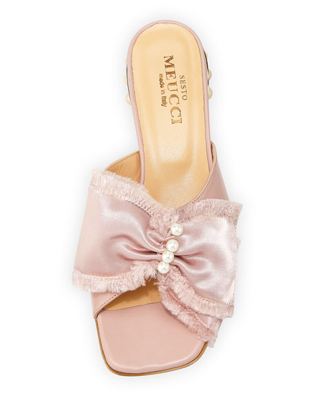 Wesi Pearl and Bow Slide Sandal, Pink