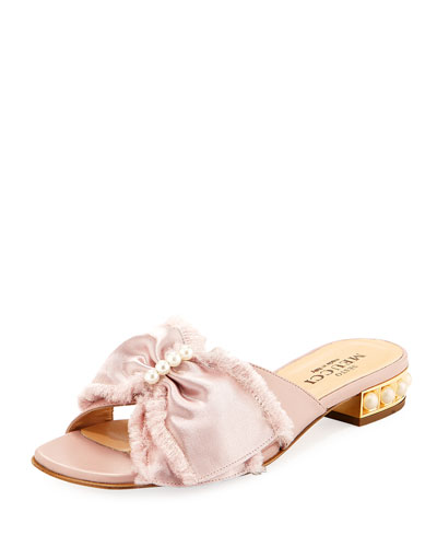 Wesi Pearl and Bow Slide Sandals, Pink