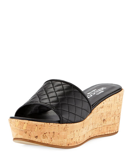 Tarie Quilted Napa Wedge Slide Sandal