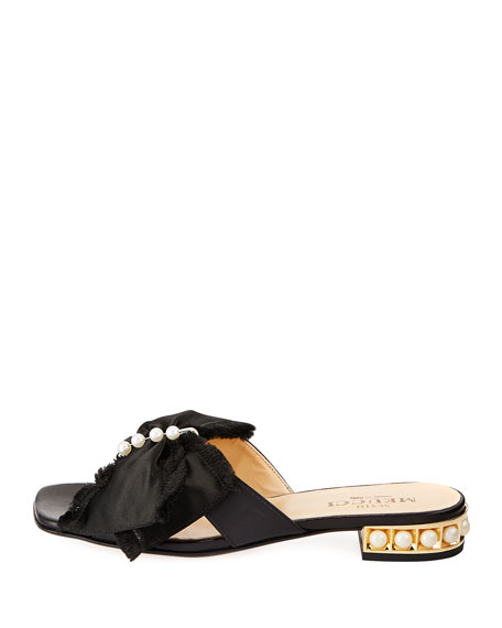 Wesi Pearl and Bow Slide Sandals, Black
