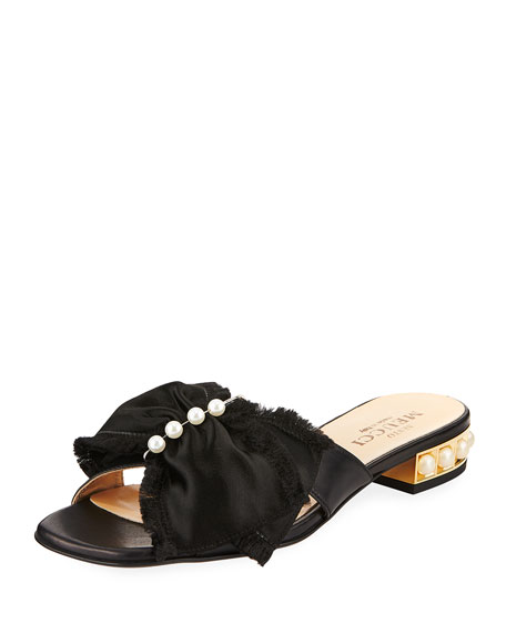 Sesto Meucci Wesi Pearl and Bow Slide Sandals, Beige